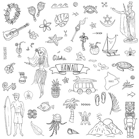 Hand drawn doodle Hawaii icons set Vector illustration.