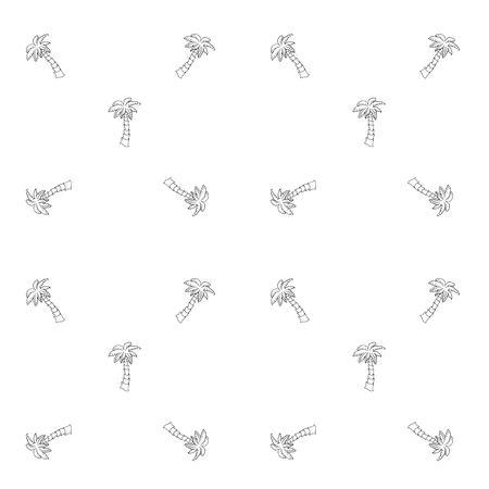 Hand getekende doodle Palm pictogrammen naadloze achtergrond.