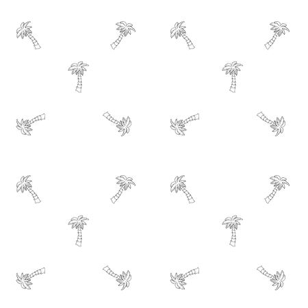 Hand drawn doodle Palm tree icons seamless background.