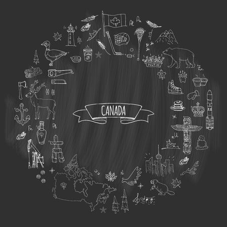 Hand drawn doodle Canada icons set Vector illustration isolated symbols collection of canadian symbols. Illustration