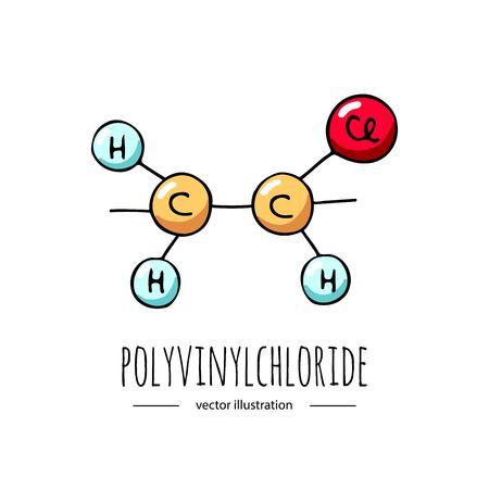 Hand drawn doodle Polyvinylchloride  chemical formula icon. Çizim