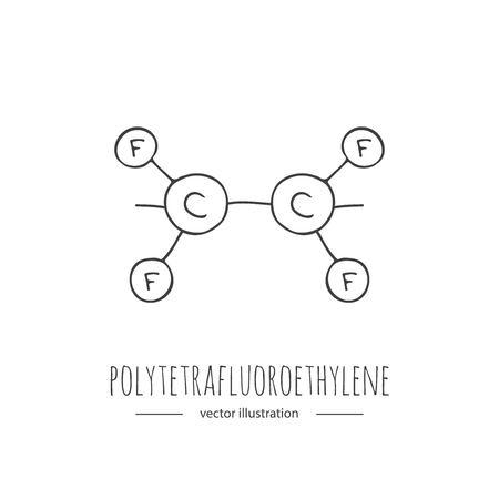 Hand getekende dolle polytetrafluorethyleen chemische formule icoon.