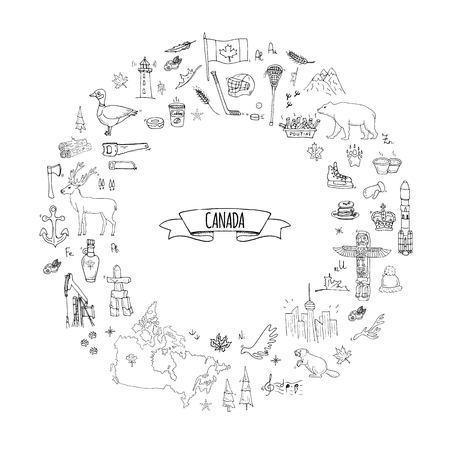 Dibujado a mano doodle conjunto de iconos de Canadá. Foto de archivo - 87946286