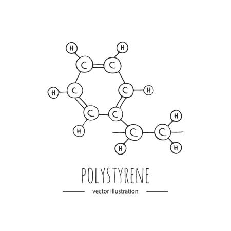 Hand drawn doodle Polystyrene chemical formula icon.