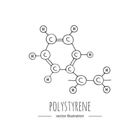 Hand getekende doodle Polystyreen chemische formule pictogram.
