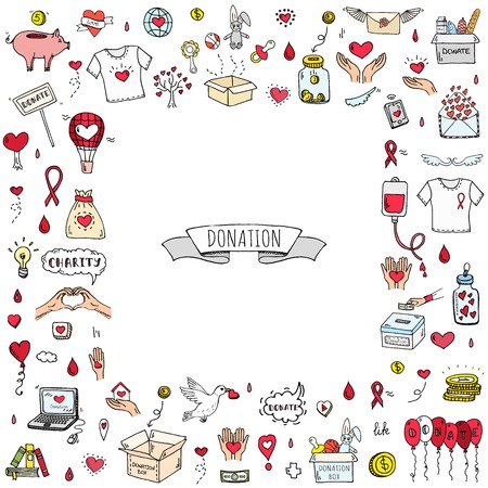 Doodle dessiné main Donation ensemble d'icônes. Illustration vectorielle Collection de symboles de bienfaisance Cartoon donate éléments de croquis: don de sang, boîte, coeur, pot d'argent, soins, aide, cadeau, donner la main, collecte de fonds Banque d'images - 88290401