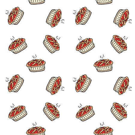 Seamless pattern with hand drawn doodle Thanksgiving icon - traditional lattice upper crust apple pie isolated on white background. Vector illustration. Shortcrust pastry with apple filling
