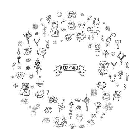 Hand drawn doodle Lucky symbol icon set Illustration vectorielle isolée Luck symbol collection Cartoon élément de la richesse: Ladybug Dreamcatcher Clover Horseshoe Neko chat Wishbone Scarab Charms Good Luck Banque d'images - 88290457