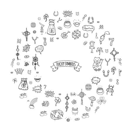 Hand getekende doodle Gelukkige symbolen pictogram set Vector illustratie geïsoleerd Geluk symbolen collectie Cartoon rijkdom element: Ladybug Dreamcatcher Clover Horseshoe Neko kat Wishbone Scarab Charms Good Luck