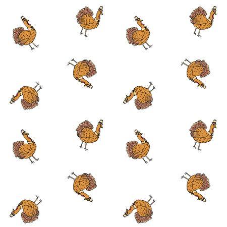 Naadloos patroon met het hand getrokken pictogram van krabbel leuke Turkije. Vector illustratie herfst vakantie symbool Cartoon viering element: vogel, boerderij vogel dier, Thanksgiving viering grappige hoed en kraag. Stock Illustratie