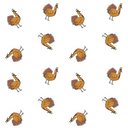 Seamless pattern with hand drawn doodle cute Turkey icon. Vector illustration autumn holiday symbol Cartoon celebration element: bird, farm bird animal, thanksgiving celebration funny hat and collar.