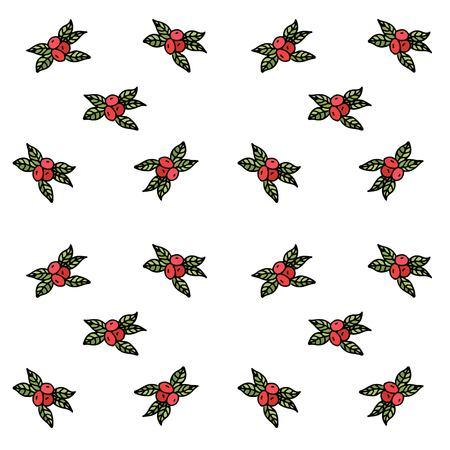 손으로 그린 낙서와 원활한 패턴 추수 감사절 아이콘 크랜베리 벡터 일러스트 레이 션. 만화 축하 성분 : 장과, 잎, 과일, 주스, 잼, 소스, 꽃 성분