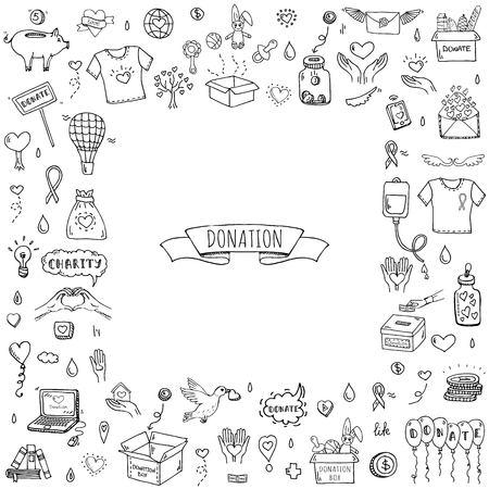 Hand getrokken doodle Donatie pictogrammen instellen. Vector illustratie. Charity symbols collection Cartoon donate sketch elements: bloeddonatie, box, heart, money jar, care, help, gift, giving hand, fondsenwerving Stock Illustratie