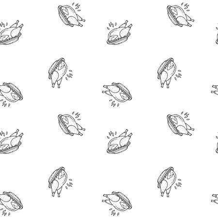 シームレス パターン手描き落書き感謝祭の七面鳥の丸焼きアイコン。ベクター イラスト秋の休日シンボル漫画の祭典要素ホット焼きプレート上に七