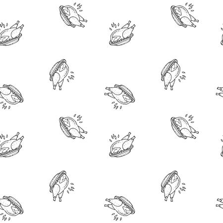 Seamless pattern hand drawn doodle Thanksgiving roasted turkey icon. Vector illustration autumn holiday symbol Cartoon celebration element Hot baked turkey on the plate Cranberry sauce Fried chicken