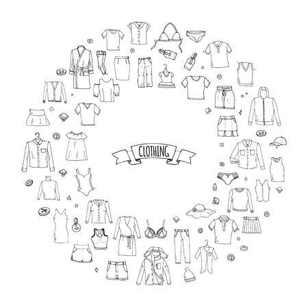 手描き落書き服アイコンを設定します。ベクトルの図。孤立したアパレル コレクションをシンボルします。布の要素を漫画: スカート シャツ t シャ