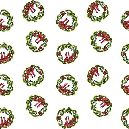 手描きのシームレスなパターンは落書きメリー クリスマス関連アイコン - の花輪です。ベクトルの図。休日の記号です。漫画スケッチ要素カラフル
