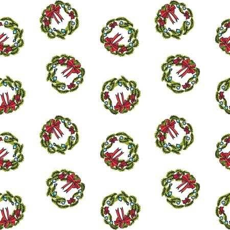 Seamless pattern with hand drawn doodle Merry Christmas related icon - Wreath. Vector illustration. Holiday symbol. Cartoon sketch element colorful christmas traditional decoration isolated on white
