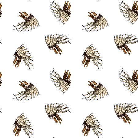 손으로 그린 낙서와 원활한 패턴 전쟁 보 닛 - 전통적인 인디언 깃털 된 머리 장식 절연 벡터 일러스트 레이 션. 인디언 상징. 만화 행사 요소 : 헤드 기