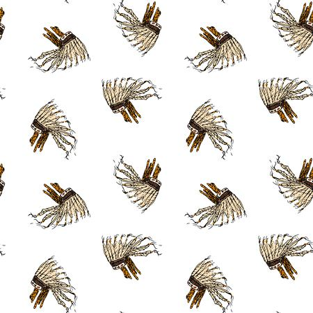 Seamless pattern with hand drawn doodle War bonnet - traditional Indians feathered headdress isolated Vector illustration. Indians symbol. Cartoon ceremony element: headgear, male, tradition, tribe