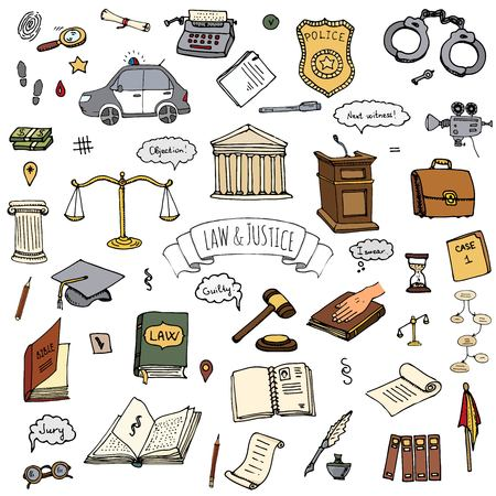 Hand drawn doodle Law and Justice icons set Vector illustration sketchy symbols collection Cartoon law concept elements suitable for info graphics, websites and print media Color icon Court Police car Ilustração