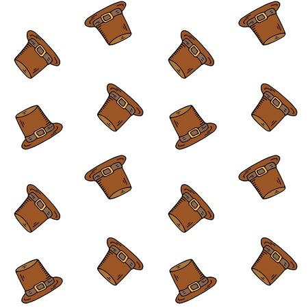 Naadloze patroon met hand getrokken doodle Thanksgiving icon - oude hoed op wit Vectorillustratie Pelgrim symbool Cartoon celebration element: cockel, capotain, hoog gekroond, smalle rand, conische hoed