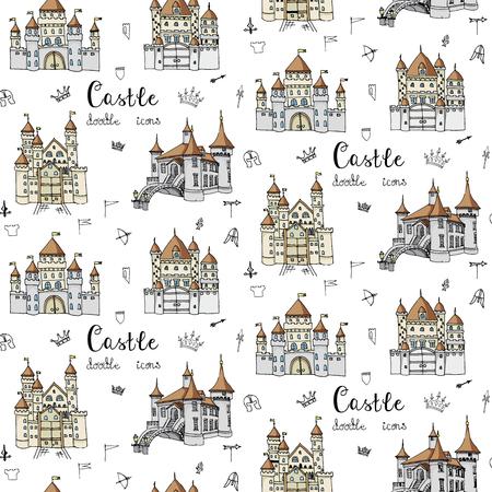Seamless pattern with hand drawn cartoon fairy tale castle icons, castle doodle vector sketch with set of fairytale, game icons - crossbow, arrow, knight helmet, flag, crown