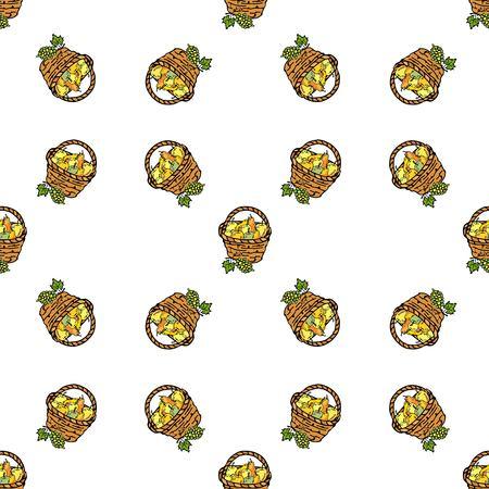 Naadloos patroon met het hand getrokken pictogram van de krabbeloogst - mandhoogtepunt van appel op witte Vectorillustratie. Thanksgiving traditionele symbool van gastvrijheid en herfst oogst. Druif met bladeren en wijnstokken