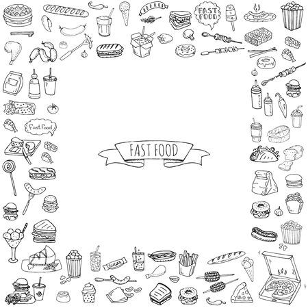 Hand getrokken doodle Fast-food pictogrammen instellen. Vector illustratie. Verzameling junkfood-elementen. Cartoon snack verschillende schets symbool: frisdrank, hamburger, aardappel, hotdog, pizza, taco's, zoete woestijn, donut, popcorn