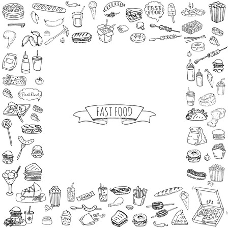Hand drawn doodle Fast food icons set. Vector illustration. Junk food elements collection. Cartoon snack various sketch symbol: soda, burger, potato,hot dog, pizza, tacos, sweet desert, donut, popcorn