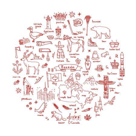 Hand drawn doodle Conjunto de ícones de Canadá Ilustração vetorial símbolos isolados coleção de símbolos canadenses Elementos de desenho animado: urso, mapa, bandeira, maple, castor, veado, ganso, totem, cavalo, hóquei, poutine Foto de archivo - 91472029