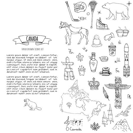 Hand drawn doodle Canada icons set Vector illustration isolated symbols collection of canadian symbols Cartoon elements: bear, map, flag, maple, beaver, deer, goose, totem pole, horse, hockey, poutine Vectores