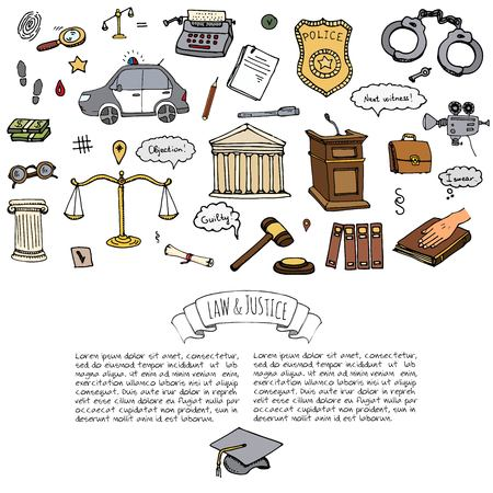 Hand drawn doodle Law and Justice icons set Vector illustration law sketchy symbols collection Cartoon concept elements suitable for info graphics, websites and print media. Police car Handcuffs Bible