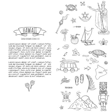 Hand drawn doodle Hawaii icons set Vector illustration isolated symbols collection of hawaiian symbols Cartoon elements: USA state map Honolulu State Hula girl Surfing guy Volcano Guitar Paradise Art