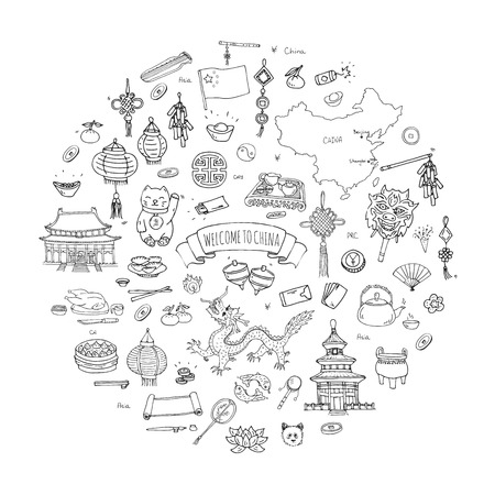 Hand drawn doodle China icons collection Vector illustration Sketchy Chinese icons set. Welcome to China, Tea Ceremony, National Food, Lantern Dim Sum, Dragon, Landmark, Map, Asian architecture