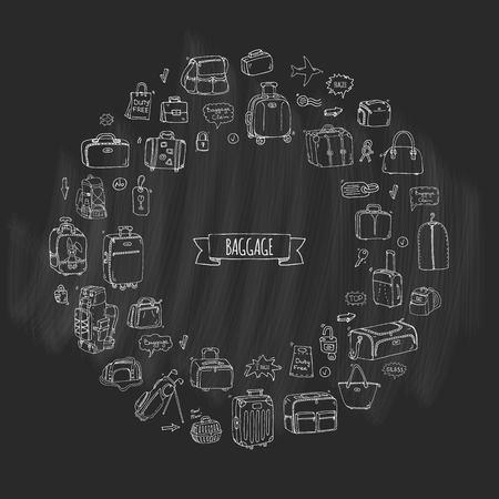 手描き落書き手荷物のアイコンを設定します。ベクトルの図。荷物の種類。大小のスーツケース、手荷物、バックパック、キャリー動物、クレート