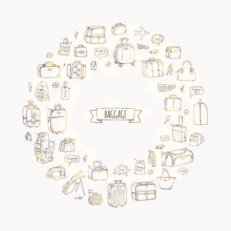 Hand drawn doodle Baggage icons set. Vector illustration. Different types of baggage. Large and small suitcase, hand luggage, backpack, carrying animals, crate, handbag, tag. Sketch cartoon style. Reklamní fotografie - 91475438