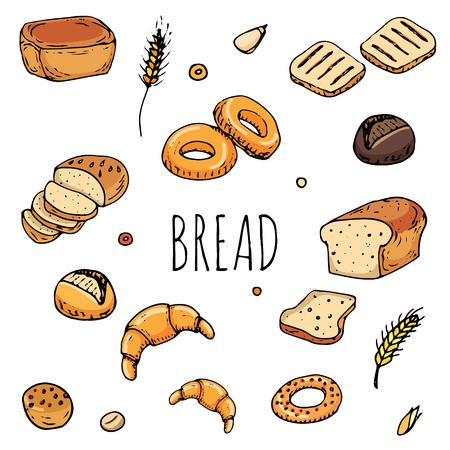 Hand drawn doodles of cartoon food: rye bread, ciabatta, whole grain bread, bagel and more. Bread set. Vector illustration. Sketch elements collection.