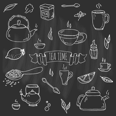 Hand drawn doodle tea time icon set. Vector illustration. Isolated drink symbols collection. Cartoon various beverage element: mug, cup, teapot, leaf, spice, plate and more.