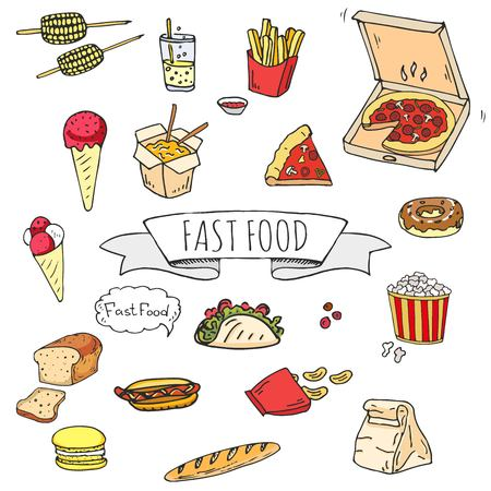 Hand drawn doodle Fast food icons set. Vector illustration. Junk food elements collection. Cartoon snack various sketch symbol: soda, burger, potato, hot dog, pizza and more.