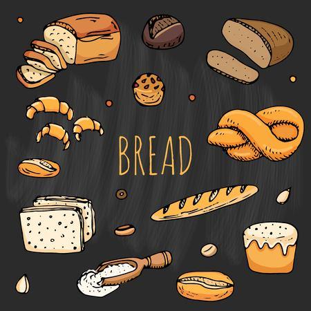 만화 음식의 손으로 그린 낙서 : 호밀 빵, ciabatta, 곡물 빵, 베이글 및 더. 빵 세트입니다. 벡터 일러스트 레이 션. 스케치 요소 컬렉션입니다.