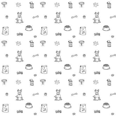 Seamless background of Hand drawn Pets stuff and supplies