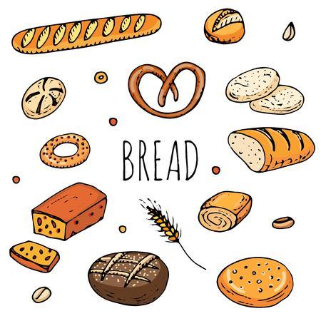 パンの手描き落書きセット  イラスト・ベクター素材