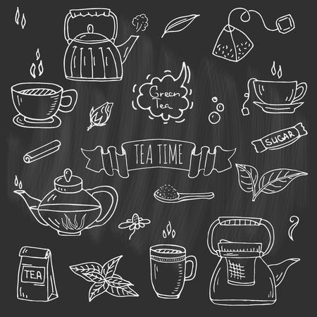 Hand drawn doodle of Tea time icon set