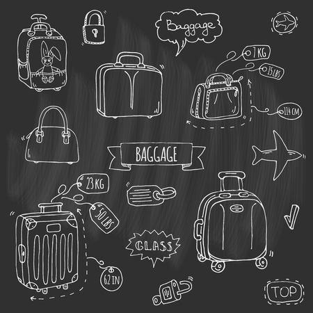 Hand drawn doodle Baggage conjunto de ícones Foto de archivo - 92573041