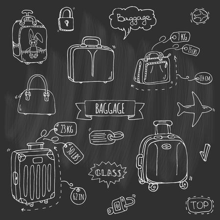 Hand drawn doodle Baggage icons set Stock Vector - 92573041