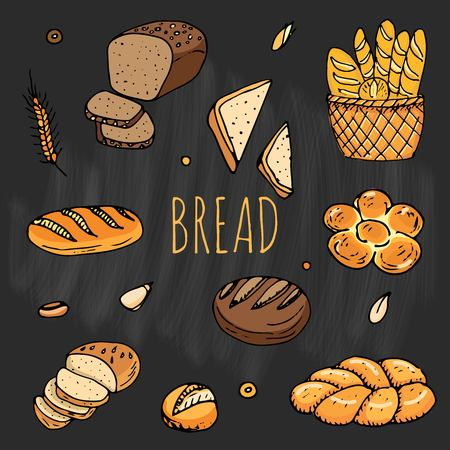 Hand drawn doodles of cartoon style bread