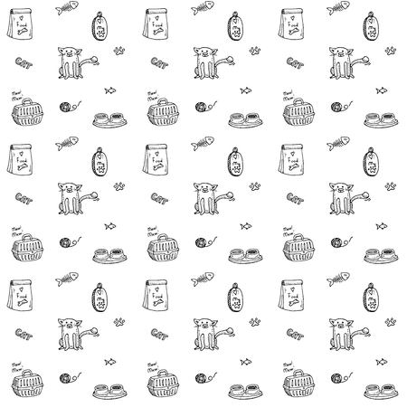 Seamless background of Hand drawn Pets stuff and supply icon