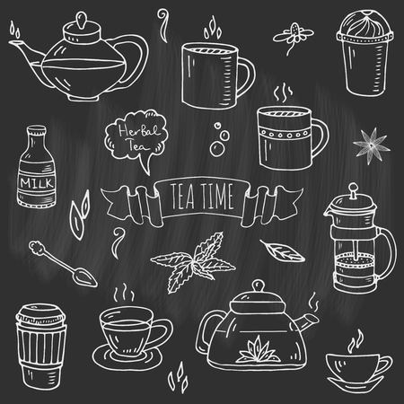 Hand drawn doodle of Tea time icons set Illustration