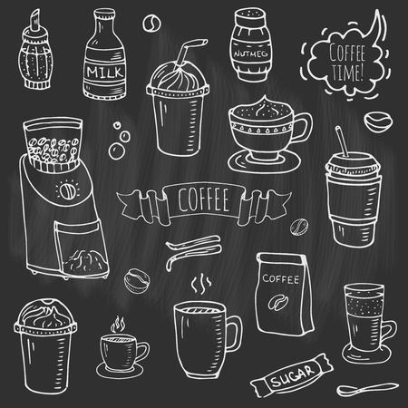 Hand drawn doodle of Coffee time icons set Reklamní fotografie - 92573125